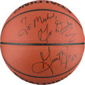 Basketball Collectibles:Balls, Late 1990's Grant Hill Signed Basketball to Michael Jordan from HisChicago Restaurant....