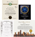 Music Memorabilia:Awards, A Connie Francis Group of Citations, 1990s-2000s....