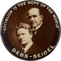 """Political:Pinback Buttons (1896-present), Debs & Seidel: An Outstanding 1 1/4"""" 1912 Jugate Button For These Socialist Candidates...."""
