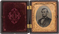 """Political:Ferrotypes / Photo Badges (pre-1896), Abraham Lincoln: A Choice Tintype Photo in """"Union Forever""""Thermoplastic Case...."""