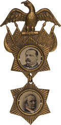 Political:Ferrotypes / Photo Badges (pre-1896), Cleveland & Hendricks: A Very Special 1884 Jugate Ferrotype Badge.. ...