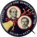 """Political:Pinback Buttons (1896-present), Bryan & Kern: Classic and Colorful """"Clean Sweep"""" Jugate...."""