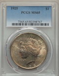 Peace Dollars: , 1925 $1 MS65 PCGS. PCGS Population: (8163/2059). NGC Census:(10985/1871). CDN: $97 Whsle. Bid for problem-free NGC/PCGS MS...