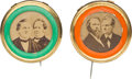 Political:Ferrotypes / Photo Badges (pre-1896), Hayes & Wheeler and Tilden & Hendricks: A Colorful MatchedPair of Jugate Pins....
