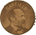Political:Ferrotypes / Photo Badges (pre-1896), James A. Garfield: Rare Campaign Pin-keep with Large AlbumenPhoto....