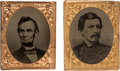 "Political:Ferrotypes / Photo Badges (pre-1896), Abraham Lincoln and George McClellan: A Choice Pair of Ferrotypesin Oversized ""Gem"" Frames...."
