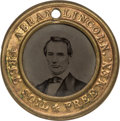 Political:Ferrotypes / Photo Badges (pre-1896), Abraham Lincoln: Choice Larger Size Back-to-Back CampaignFerrotype....