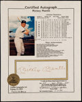 Autographs:Photos, Mickey Mantle Signed Stat Sheet. ...