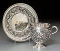 Silver Holloware, American:Cups, A John Chandler Moore Silver Teacup and Saucer with Ivy Motif forTiffany & Co., New York, circa 1860. Marks: TIFFANY &CO... (Total: 2 Items)