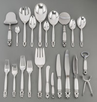 A One Hundred and Thirty-Four Piece Georg Jensen Acorn Pattern Silver Flatware Service</