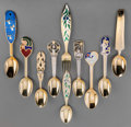 Silver Flatware, Continental:Flatware, Ten Anton Michelsen Gilt Silver and Enamel Calendar Spoons withFork, Copenhagen, Denmark, 20th century. Marks: (various). 6...(Total: 10 Items)