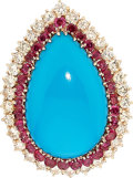 Estate Jewelry:Rings, Turquoise, Diamond, Ruby, Gold Ring. ...