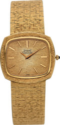 Timepieces:Wristwatch, Piaget Gent's 18k Gold Automatic Wristwatch, circa 1980. ...