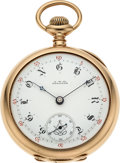 Timepieces:Pocket (pre 1900) , Waltham Heavy 14k Gold Non-Magnetic Model 83 Masonic Dial, circa1888. ...