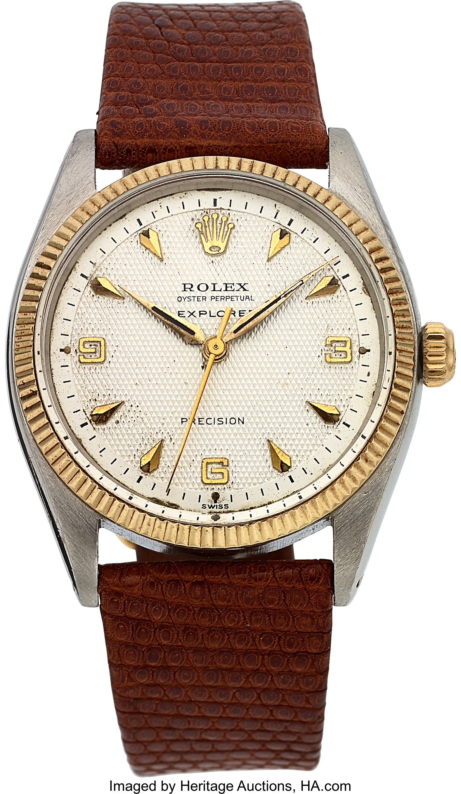 Rolex Ref. 5501 Explorer Honeycomb Dial Oyster Perpetual Precision,   Lot #54173   Heritage Auctions