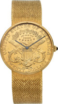Timepieces:Wristwatch, Corum Twenty Dollar Gold Coin Wristwatch With 18k Gold Band. ...