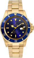 Timepieces:Wristwatch, Rolex Ref. 16808 Gold Oyster Perpetual Date Submariner, circa 1983....