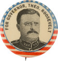 Political:Pinback Buttons (1896-present), Theodore Roosevelt: Rough Rider Gubernatorial Picture Pin....