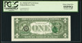 Error Notes:Third Printing on Reverse, Overprint on Back Fr. 1910-B $1 1977A Federal Reserve Note. PCGS Choice About New 55PPQ.. ...