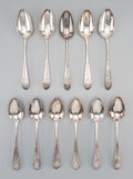 Eleven Rare Ephraim Brasher Colonial American Coin Silver Place Spoons