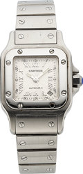 Timepieces:Wristwatch, Cartier Lady's Santos Steel Automatic With Date. ...