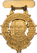 Political:Ferrotypes / Photo Badges (pre-1896), Harrison & Morton: Unlisted Jugate Brass Badge....