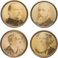 Political:Ferrotypes / Photo Badges (pre-1896), Harrison & Morton and Cleveland & Thurman: A Matched Set of1888 Celluloid Lapel Studs. ... (Total: 4 Items)