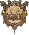 Political:Ferrotypes / Photo Badges (pre-1896), Cleveland & Hendricks: Choice Cardboard Jugate in UnusualFrame. ...