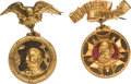 Political:Ferrotypes / Photo Badges (pre-1896), Benjamin Harrison and Grover Cleveland: Pair of Ornate ShellBadges....