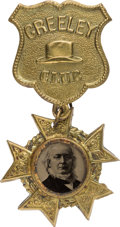 Political:Ferrotypes / Photo Badges (pre-1896), Horace Greeley: A Premier Ferrotype Badge for This Tough 1872Candidate....