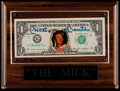 Autographs:Others, Mickey Mantle Signed Dollar Bill With Plaque. ...