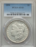 Morgan Dollars: , 1894 $1 AU53 PCGS. PCGS Population: (362/2418). NGC Census: (251/1820). CDN: $975 Whsle. Bid for problem-free NGC/PCGS AU53...