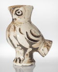 Sculpture, Pablo Picasso (1881-1973). Wood Owl, 1969. Glazed white earthenware vase, painted in black. 11-1/4 x 9-1/4 x 6 inches (2...