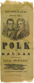 Political:Ribbons & Badges, Polk & Dallas: A Remarkable Large, Bold Jugate Ribbon on Muted Lime Green Silk....