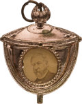 Political:Ferrotypes / Photo Badges (pre-1896), James G. Blaine: A Unique Photo Badge with Blaine in a ParadeTorch. ...