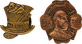 Political:Ferrotypes / Photo Badges (pre-1896), Benjamin Harrison and Grover Cleveland: 1892 Studs....