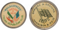 Political:Ferrotypes / Photo Badges (pre-1896), Benjamin Harrison: Pair of Unusual 1892 Studs....
