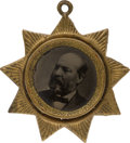 Political:Ferrotypes / Photo Badges (pre-1896), James A. Garfield: Star Ferrotype Pendant....
