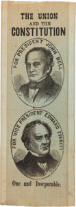 Political:Ribbons & Badges, Bell & Everett: An Extremely Rare and Important 1860 Jugate Silk Ribbon. ...