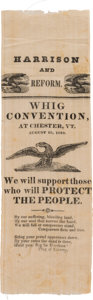 Political:Ribbons & Badges, William Henry Harrison: One of the Top Non-Portrait Ribbon Varieties for This 1840 Whig Candidate. ...