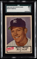 Baseball Cards:Singles (1950-1959), 1954 Dan-Dee Potato Chips Mickey Mantle SGC 40 VG 3....