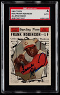 Autographs:Sports Cards, Signed 1961 Topps Frank Robinson All-Star #581 SGC Authentic....