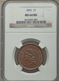 1853 1C N-24, R.2, MS64 Brown NGC. NGC Census: (234/222). PCGS Population: (3/1). CDN: $345 Whsle. Bid for problem-free...