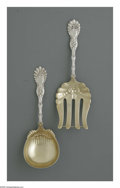 Silver Flatware, American:Whiting, An American Silver Asparagus Server and Berry Spoon. Mark ofWhiting Manufacturing, Providence, RI, Late Nineteenth Century