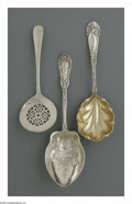 Silver & Vertu:Flatware, Two American Silver Serving Spoon And A Tomato Server. Marks of Dominick & Haff, New York, NY; Towle Silversmiths, Newburypo... (Total: 3 Items Item)