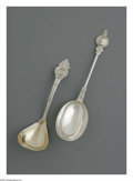 Silver Flatware, American:Other , An American Silver Ladle And Berry Spoon. Mark of Kolhler &Ritter; and unknown maker, Mid-Nineteenth Century. The 'Medall...(Total: 2 Items)