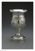 Silver Holloware, American:Water Goblet, An American Silver Goblet. Mark of Schofield Co., Baltimore, MD, Early Twentieth Century. The floral repousse goblet, comm...