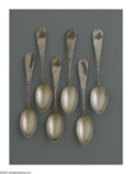 Silver Flatware, American:Other , Six American Silver and Mixed Metal Spoons. Maker unknown, LateEighteenth Century. The matching spoons with engraved hand...(Total: 6 Items)