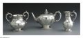 Silver Holloware, British:Holloware, An English Silver Tea Set. Mark of George Angell, London, England,1860. The elaborately engraved tea set includes a tea p... (Total:3 Items)