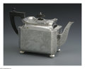 Silver Holloware, British:Holloware, An English Silver Teapot. Maker unknown, London, England, 1883. Theengraved Aesthetic teapot with an ebony handle and fin...